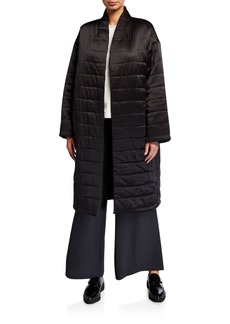 Eileen Fisher Quilted Silk Charmeuse Kimono Coat
