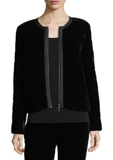 Eileen Fisher Quilted Velvet Bomber Jacket