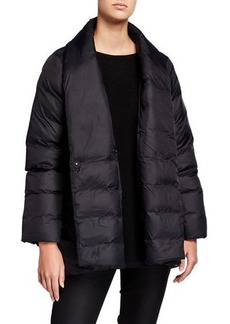 Eileen Fisher Recycled Nylon High-Collar Puffer Coat
