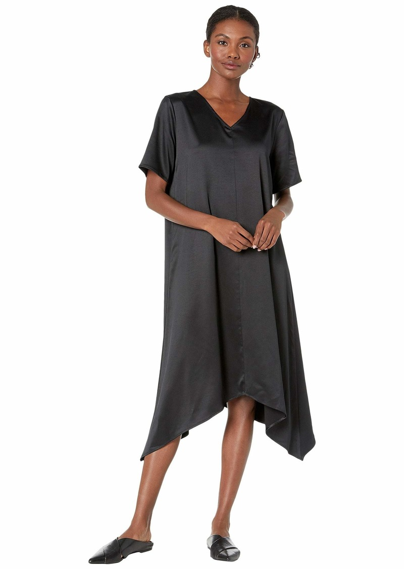 Eileen Fisher Recycled Polyester Satin V-Neck Short Sleeve Dress