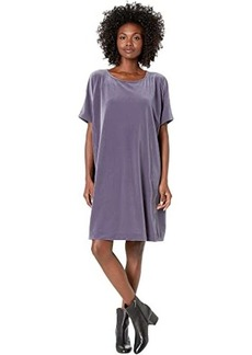 Eileen Fisher Recycled Polyester Stretch Velvet Round Neck Knee Length Dress
