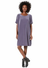 Eileen Fisher Recycled Polyester Stretch Velvet Round Neck Knee Length Dress