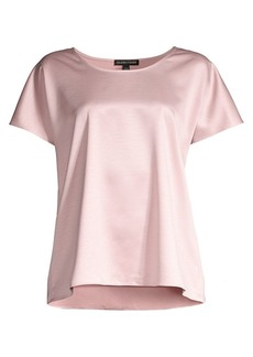 Eileen Fisher Recycled Satin Short-Sleeve Top
