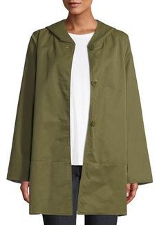 Eileen Fisher Reversible Organic Cotton/Nylon Hooded Raincoat
