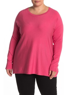 Eileen Fisher Rib Knit Dolman Sleeve Top (Plus Size)