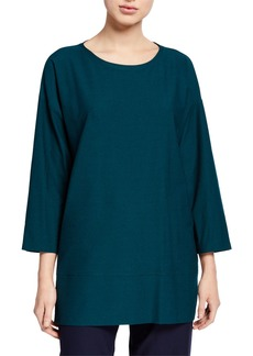 Eileen Fisher Round-Neck Bracelet-Sleeve Crepe Tunic