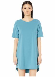 Eileen Fisher Round Neck Elbow Sleeve Knee Length Dress