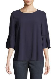 Eileen Fisher Round-Neck Flutter-Sleeve Silk Top