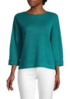 Eileen Fisher Round Neck Knit Organic Linen Top