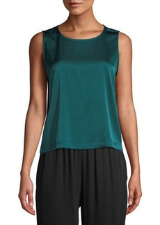 Eileen Fisher Round-Neck Sleeveless Silk Charmeuse Shell