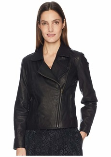 Eileen Fisher Rumpled Luxe Leather Moto Zip Jacket