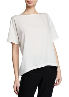 Eileen Fisher Sand-Washed Tencel Short-Sleeve Top