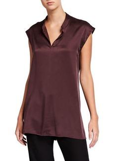 Eileen Fisher Sandwash Mandarin Collar Cap-Sleeve Silk Charmeuse Top