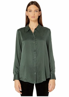 Eileen Fisher Sandwashed Silk Charmeuse Classic Collar Shirt