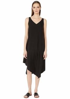 Eileen Fisher Sandwashed Tencel Bateau Neck Asymmetrical Layering Dress