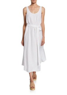 Eileen Fisher Scoop-Neck Belted Crepe Tank Dress