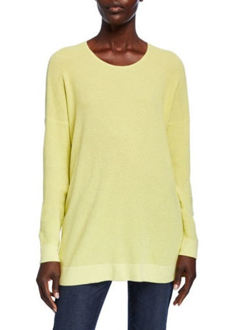 Eileen Fisher Scoop-Neck Long-Sleeve Waffle-Knit Sweater