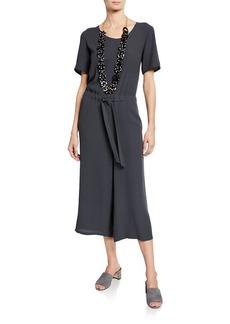 Eileen Fisher Scoop-Neck Short-Sleeve Crop Wide-Leg Silk Crepe Jumpsuit