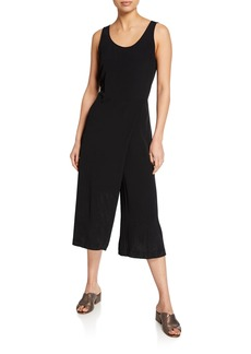 Eileen Fisher Scoop-Neck Sleeveless Skirt-Wrap Crop Jumpsuit