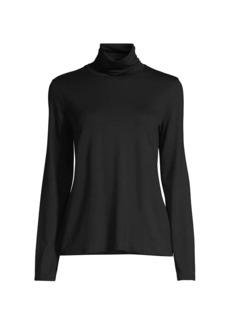 Eileen Fisher Scrunch-Neck Jersey Long-Sleeve Top