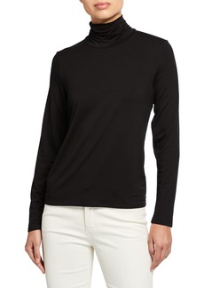 Eileen Fisher Scrunch Neck Long-Sleeve Jersey Top