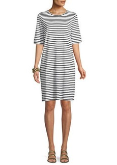Eileen Fisher Seaside Striped Half-Sleeve Organic Linen Dress