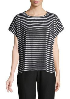 Eileen Fisher Seaside Striped Organic Linen Jersey Box Top