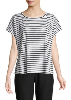 Eileen Fisher Seaside Striped Organic Linen Jersey Box Top