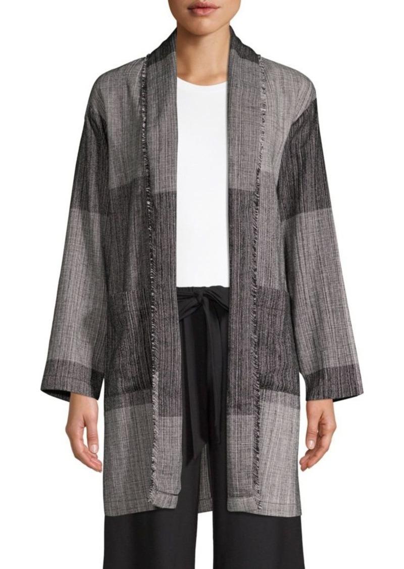 3a69400c632 Eileen Fisher Shawl Collar Long Cotton Jacket
