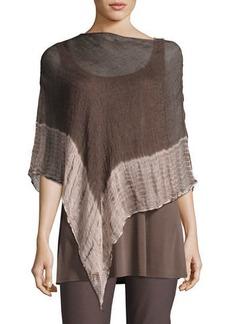 Eileen Fisher Shibori Organic Linen Borders Poncho