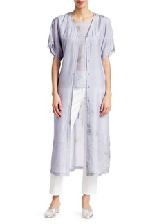 Eileen Fisher Shibori Sky Abstract Silk Shirtdress