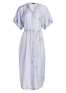 Eileen Fisher Shibori Sky Abstract Silk Shirtdress
