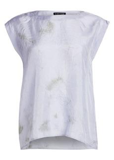 Eileen Fisher Shibori Sky Silk Abstract Top
