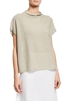 Eileen Fisher Shine Funnel-Neck Short-Sleeve Top