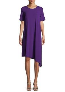 Eileen Fisher Short-Sleeve Asymmetric Jersey Dress