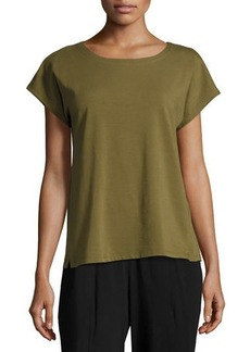 Eileen Fisher Short-Sleeve Bateau-Neck Jersey Top