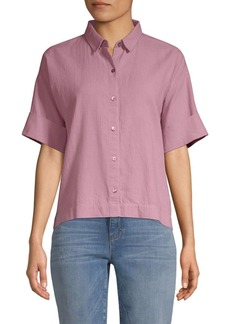Eileen Fisher Short Sleeve Collared Shirt