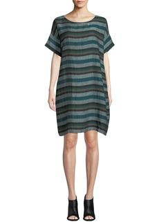 Eileen Fisher Short-Sleeve Cross-Dyed Linen Dress