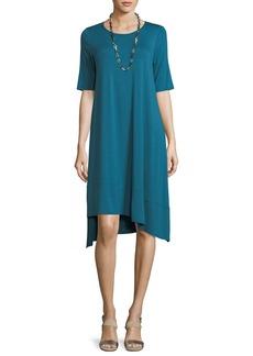 Eileen Fisher Short-Sleeve Lightweight Jersey Asymmetric Dress