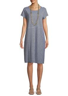 Eileen Fisher Short-Sleeve Striped Organic Linen Jersey Dress