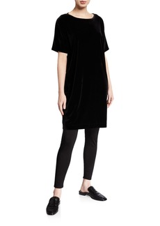 Eileen Fisher Short-Sleeve Velvet Shift Dress