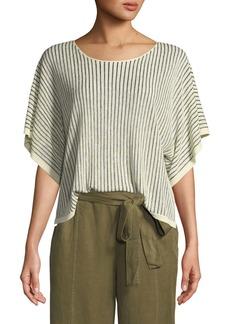 Eileen Fisher Short-Sleeve Vertical Striped Organic Sweater