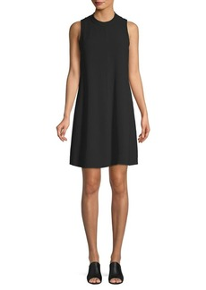 Eileen Fisher Short-Sleeve Asymmetrical Silk Shift Dress