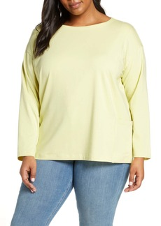Eileen Fisher Side Pocket Organic Cotton Blend Top (Plus Size)