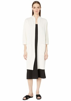 Eileen Fisher Silk & Organic Cotton Interlock High Collar 3/4 Sleeve Long Jacket