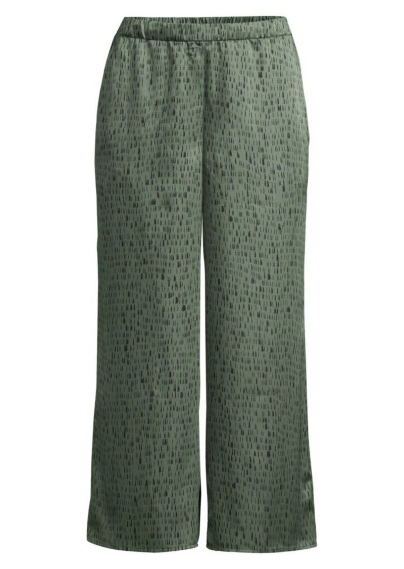 Eileen Fisher Silk & Organic Cotton Wide-Leg Jacquard Trousers