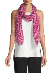 Eileen Fisher Silk-Blend Optical Squares Scarf