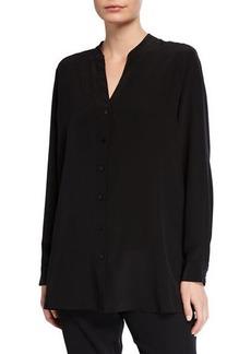 Eileen Fisher Silk Crepe Button-Front Shirt