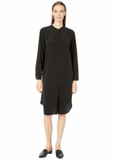 Eileen Fisher Silk Crepe De Chine Mandarin Collar Knee Length Shirtdress