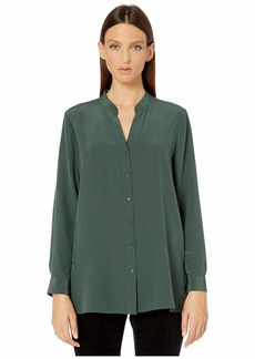 Eileen Fisher Silk Crepe De Chine Stand Collar Top